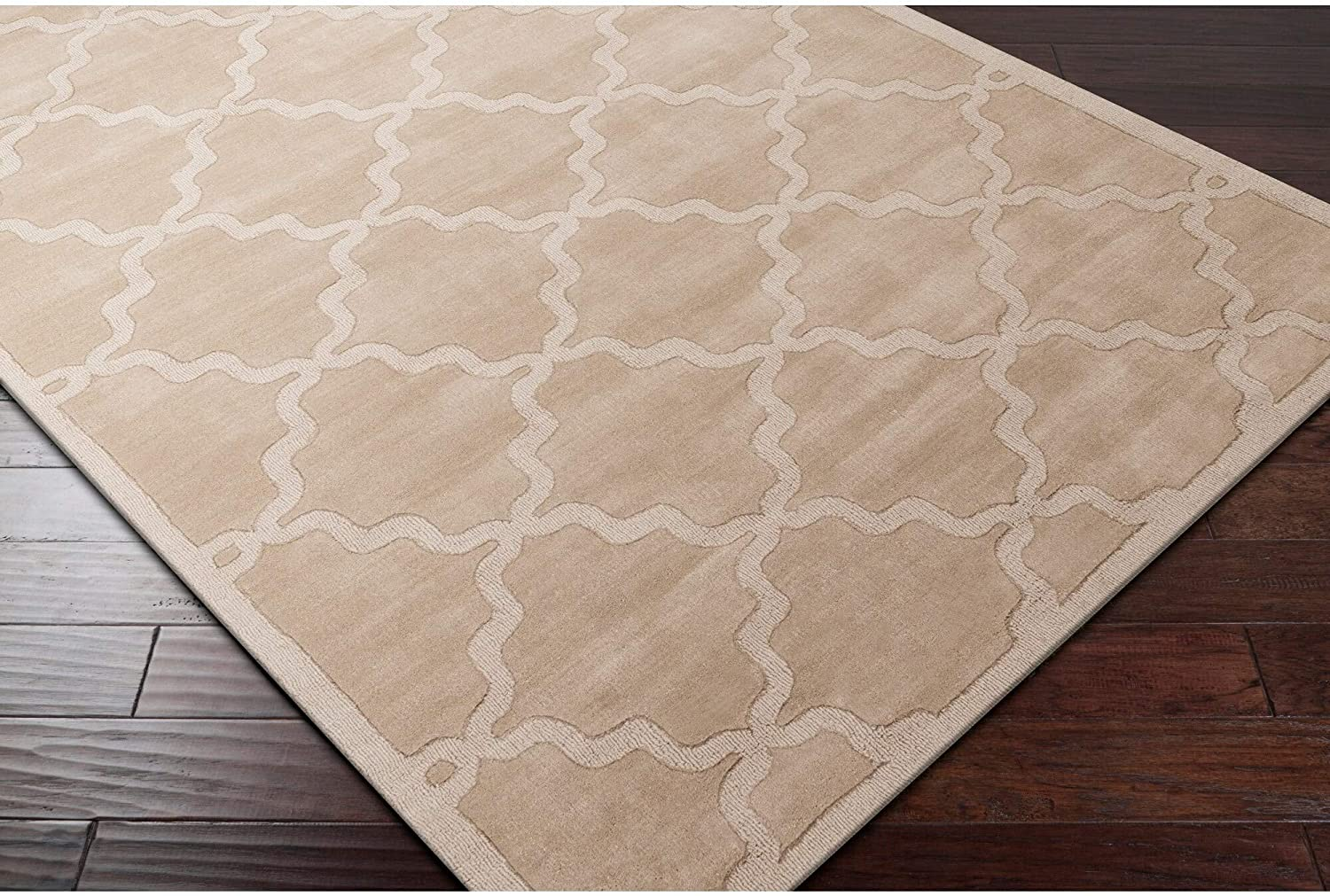 Hand Woven Amy Tone Tone Lattice Wool Area Rug 10' X 14' Brown Geometric Modern Contemporary Rectangle Latex Free