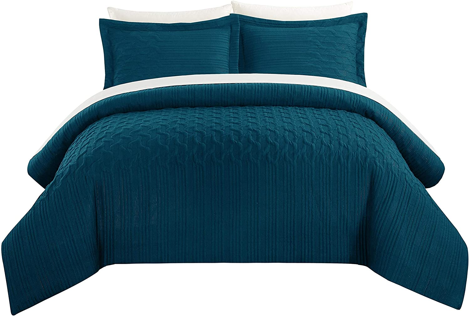 Comforter Set Embossed Quilted Vine Pattern King Blue Embroidered Modern Contemporary Microfiber 2