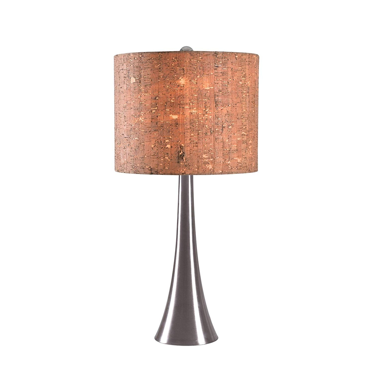 Stainless Steel Cork Table Lamp Brown Desk Light Natural Modern Shade Home Decor Lighting Metal