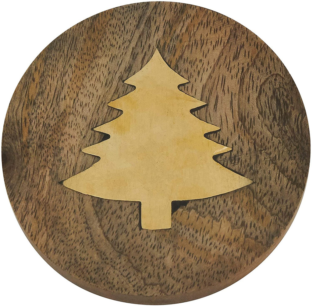 Wood Coasters Brass Fir Tree Inlay (Set 4) Brown Square Synthetic Fiber