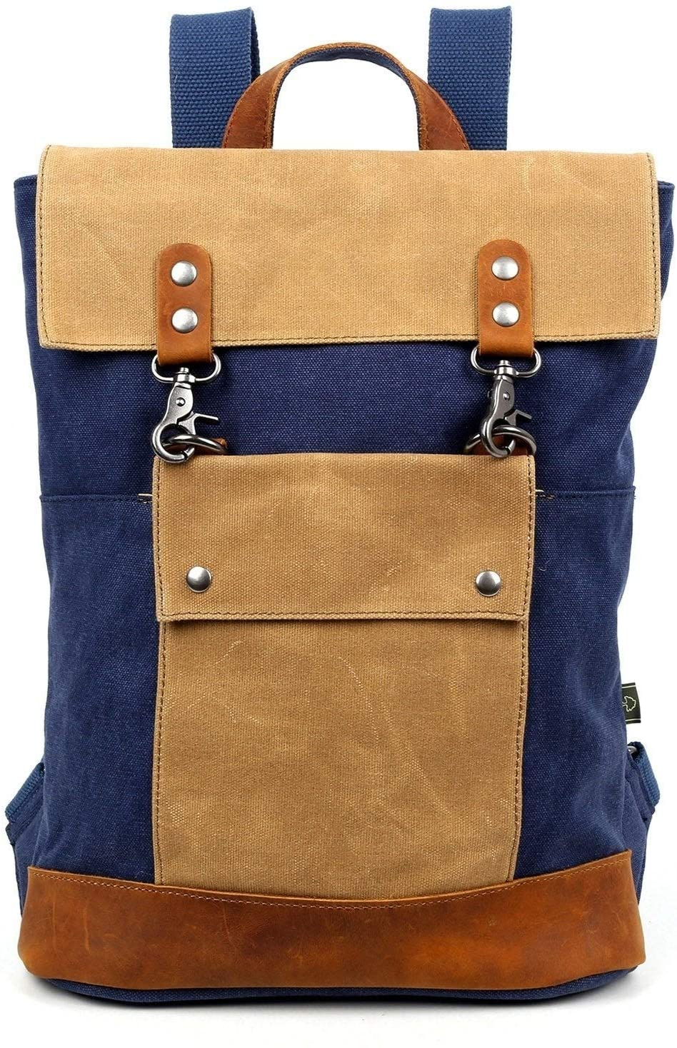Backpack Blue Solid Leather Flapover