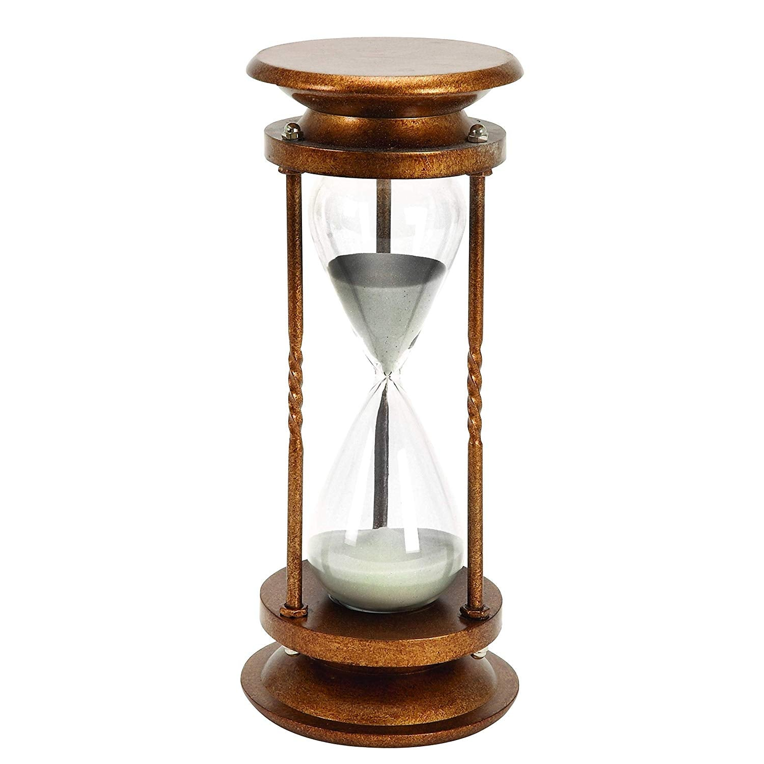 Vintage 60 Minute Hourglass Timer Sand White 1 Hour Glass Decor Modern Office Classic Timepiece Decorative Brown Round Base Wood