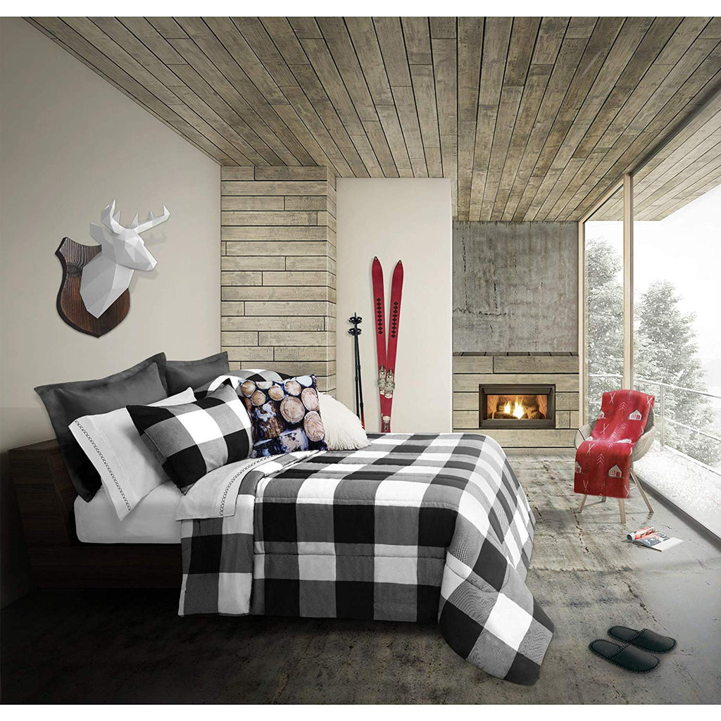 3 Piece Black White Checkered Plaid Comforter Full Queen Set Tartan Plaid Bedding Lodge Cabin Hunting Themed Check Pattern Polyester