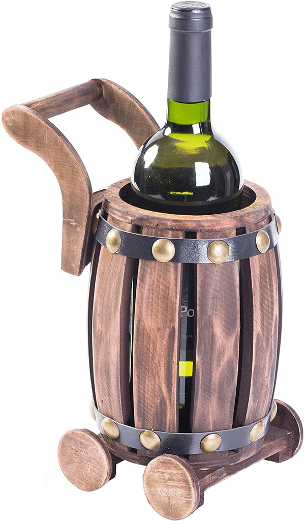 Wooden Barrel Cart Vintage Decorative Shaped Single Bottle Wine Holder Brown Rustic MDF