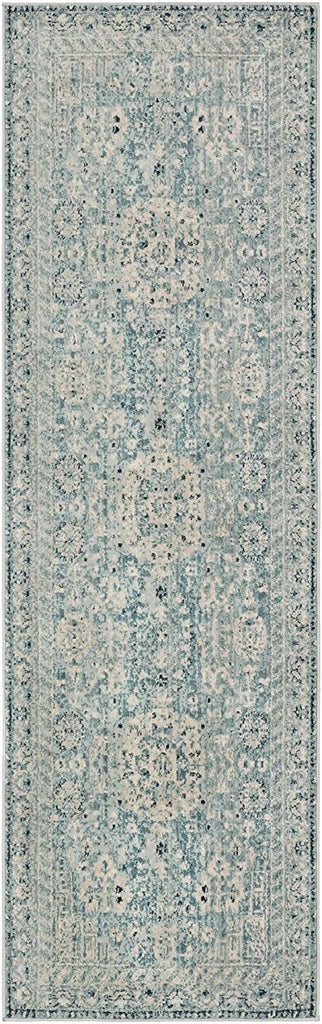 "MISC Traditional Area Rug 2'6"" X 7'10"" Runner Blue Oriental Polypropylene Synthetic Latex Free Pet Friendly Stain Resistant"