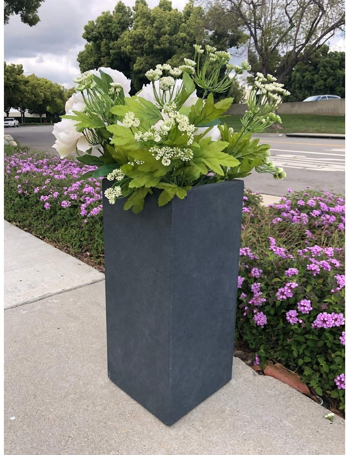 Lightweight Concrete Tall Light Granite Planter Small 8 7'x8 7'x19 9' Grey Rectangular