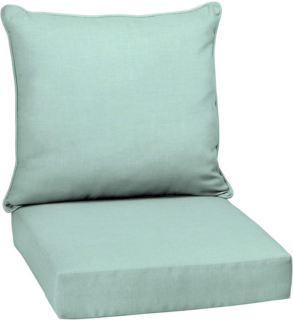 Aqua Texture Outdoor Deep Seat Set Blue Solid Transitional Polyester Uv Resistant