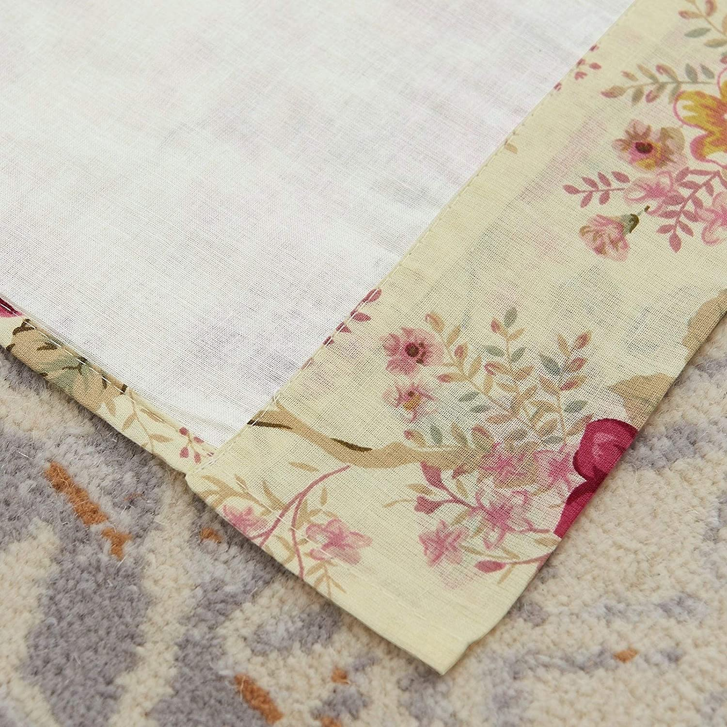 Antique Rose 84 inch Curtain Panel Pair Beige Gold Red Floral Farmhouse Shabby Chic Traditional Cotton Lined