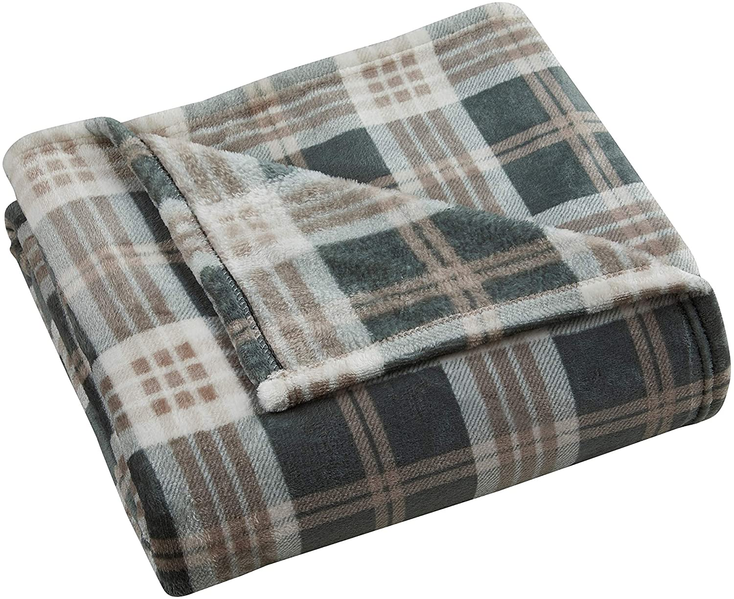 UKN Green Taupe Plaid 50 X 60 Inches Throw Blanket Casual Traditional Microfiber