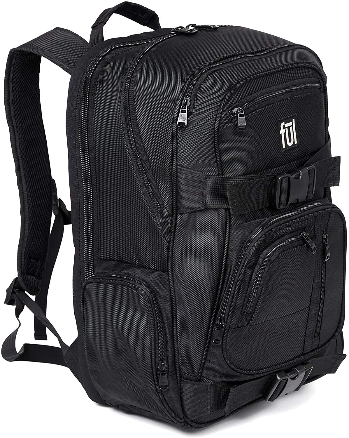 "18"" Laptop Backpack Black Solid Polyester Checkpoint Friendly Compartment Compartment Adjustable Strap Lined"