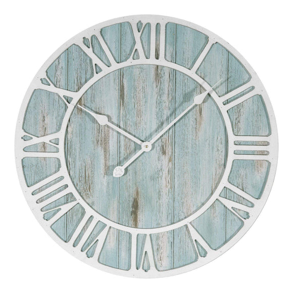Oversized Coastal Wall Clock Aqua Blue Distressed Wood White Roman Numerals Analog Nautical Beach Hanging Timepiece 23 5 Inch Round