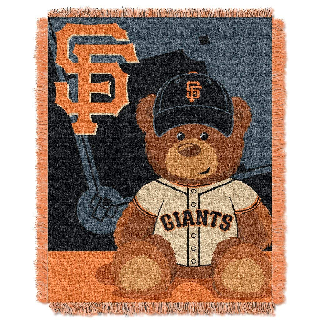 "36""x46"" MLB Giants Baby Throw Sports Baseball Blanket Teddy Bear Animal Team Logo Printed Plush Cozy Throw Blanket Kids Soft Warm Bedding Fringed"