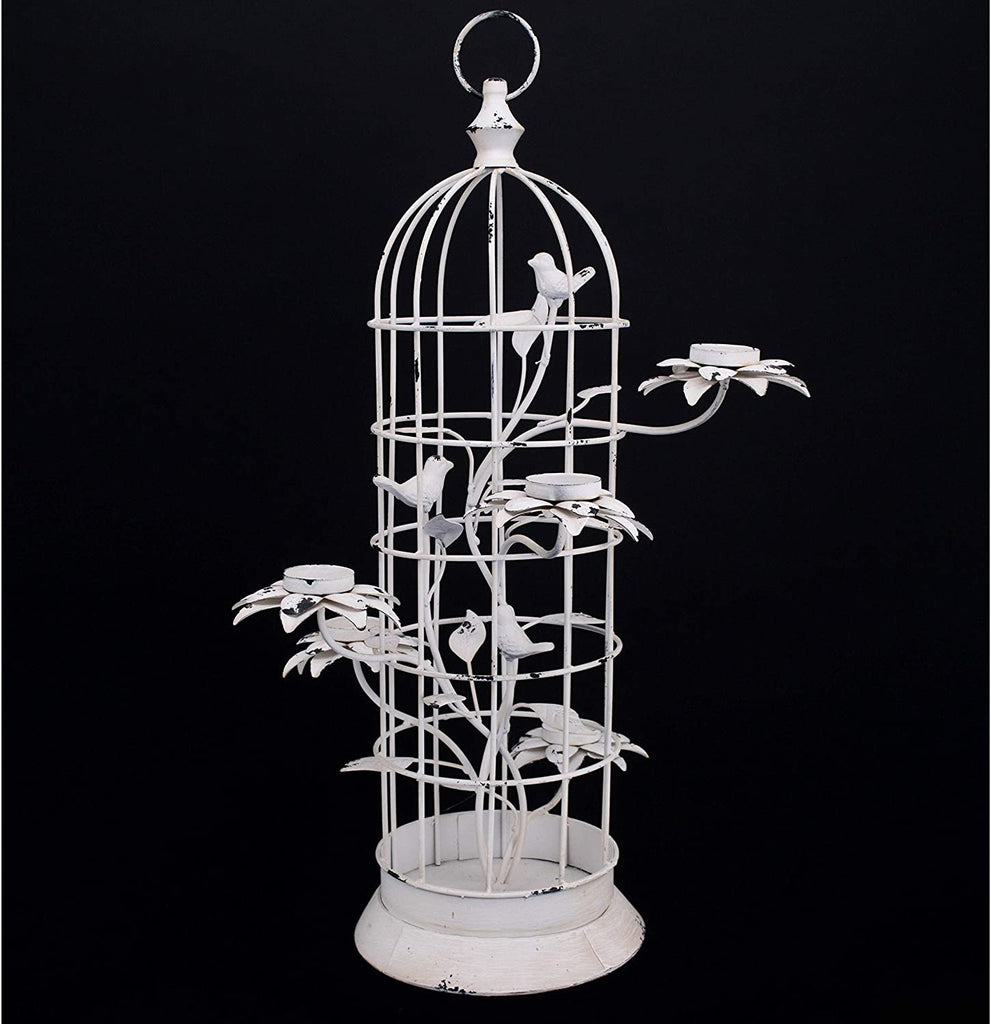Metal Bird Cage Candle Holder White Iron Powder Coated