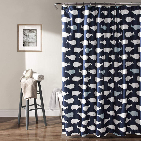 Whale Shower Curtain Kids White Blue Cartoon Animated Whales Nautical Fabric Bath Curtains Navy Background Childrens Ocean Animal Theme Coastal