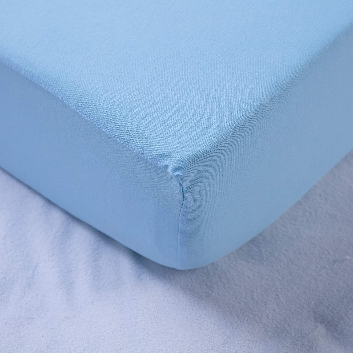100% Cotton Jersey Crib Fitted Sheet Sea Blue Blue Solid Color Neutral 1 Piece