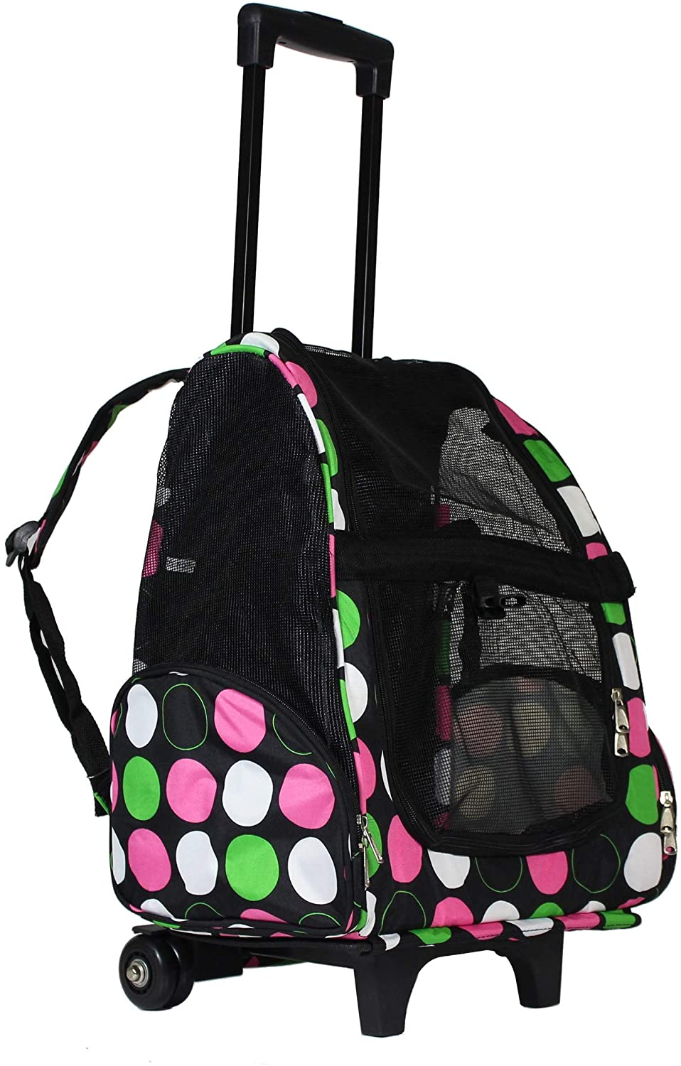 Polka Dot 20 inch Rolling Small Pet Carrier Backpack Carry Convertible New Color White Polyester Portable