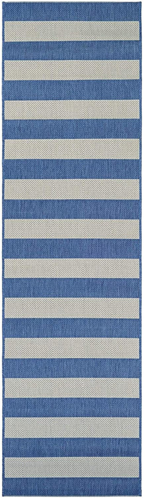 "Striped Blue Cream Indoor/Outdoor Runner Rug 2'2"" X 11'9"" Blue Cream Ivory Stripe Casual Transitional Rectangle Polypropylene Synthetic Contains Latex"