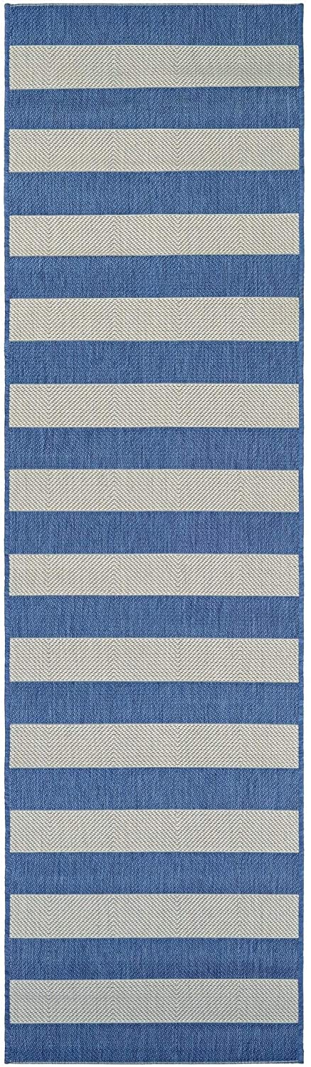 Striped Blue Cream Indoor/Outdoor Runner Rug 2'2