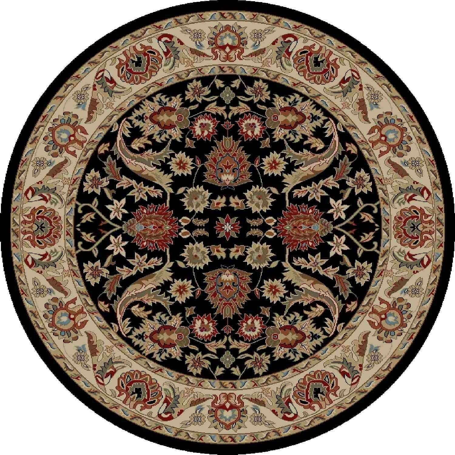 "Global Royals Black Round Rug 5'3"" X Traditional Polypropylene Latex Free"