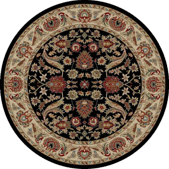 Global Royals Black Round Rug 5'3