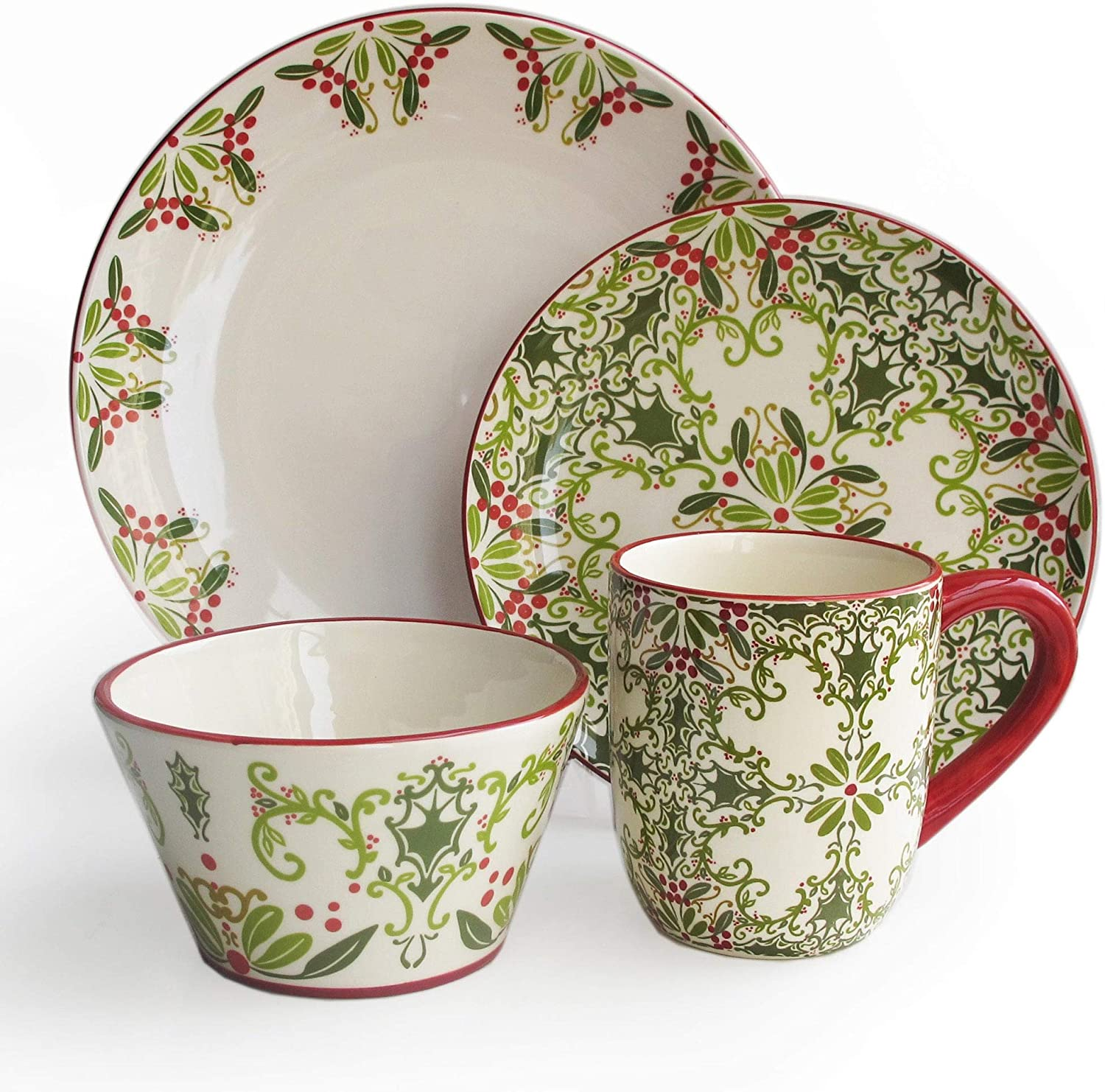 Dinnerware Set Floral Holiday Casual Round Stoneware 16 Piece