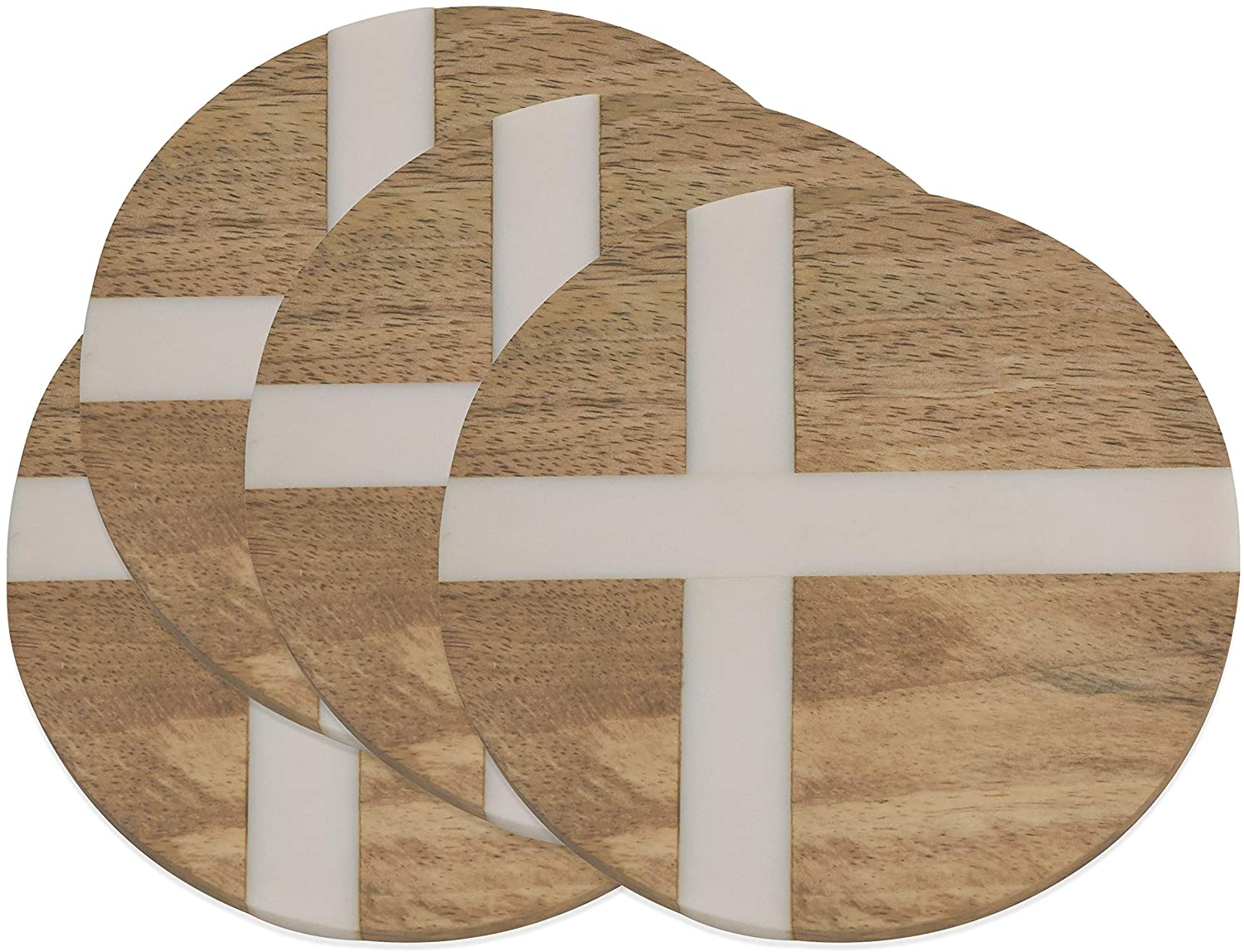 Round Wood Drink Coasters Resin Cross Inlay (Set 4) Brown Synthetic Fiber