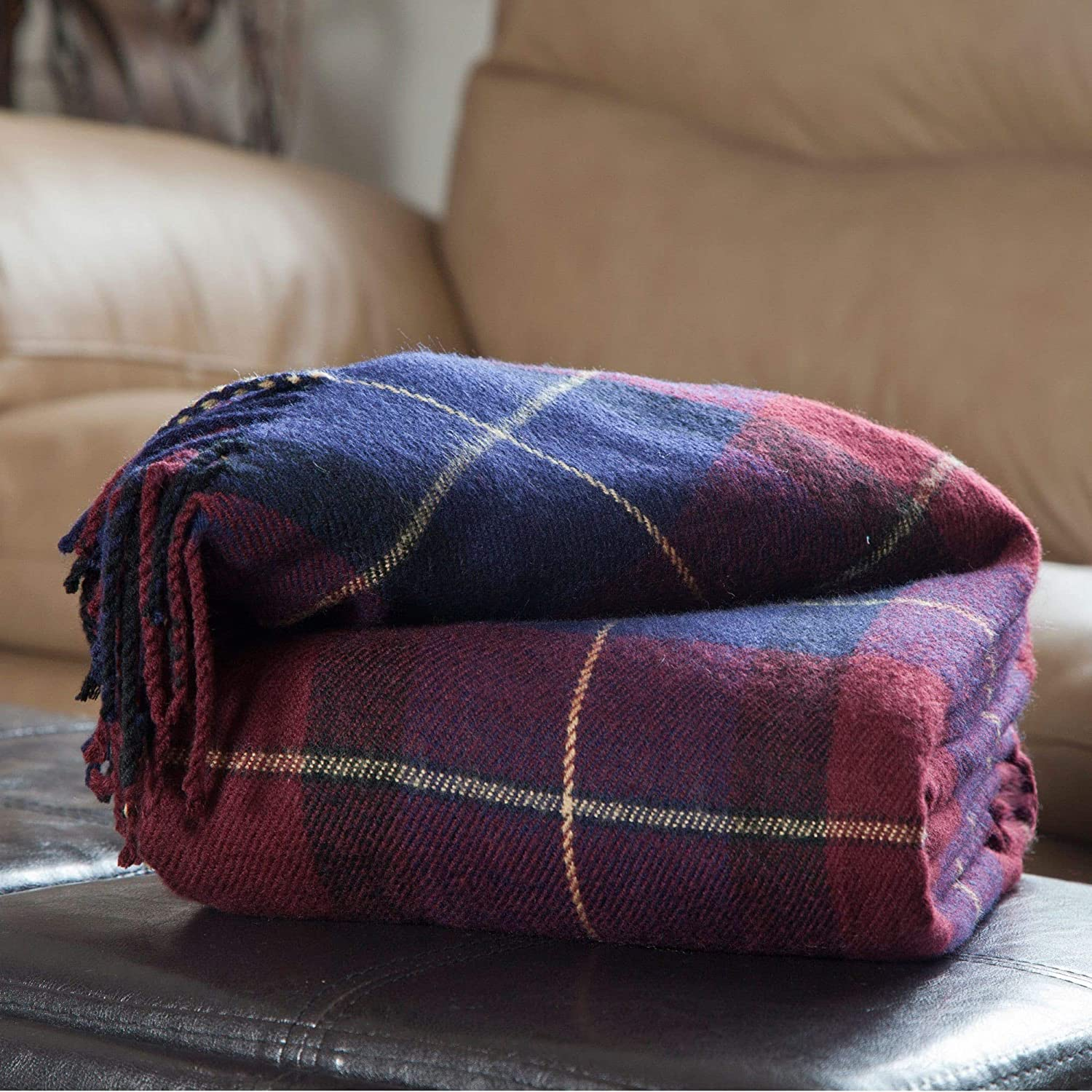 Cashmere Like Throw Blanket Blue Red Plaid Modern Contemporary Victorian Acrylic