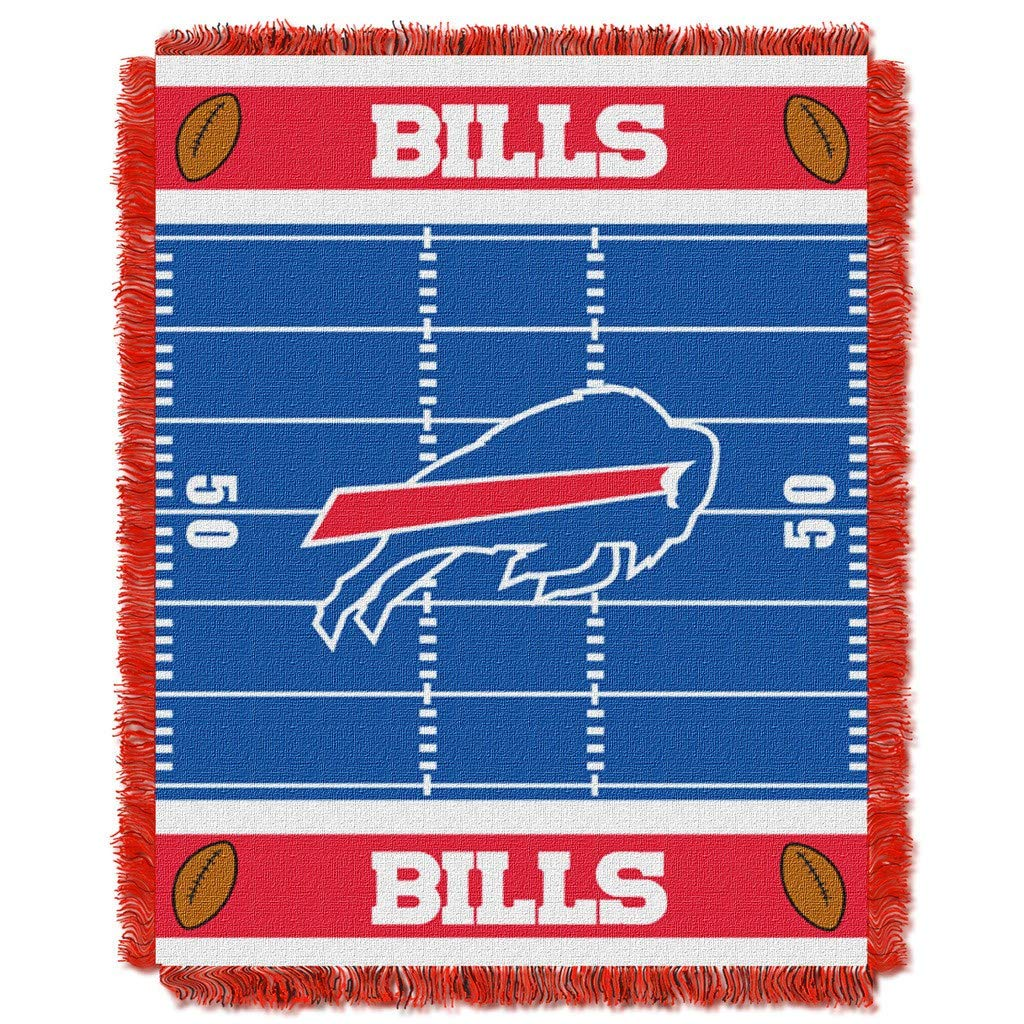 "36""x46"" NFL Bills Baby Throw Sports Football Blanket Team Logo Printed Football Field Plush Cozy Throw Blanket Kids Super Soft Warm Bedding Fringed"