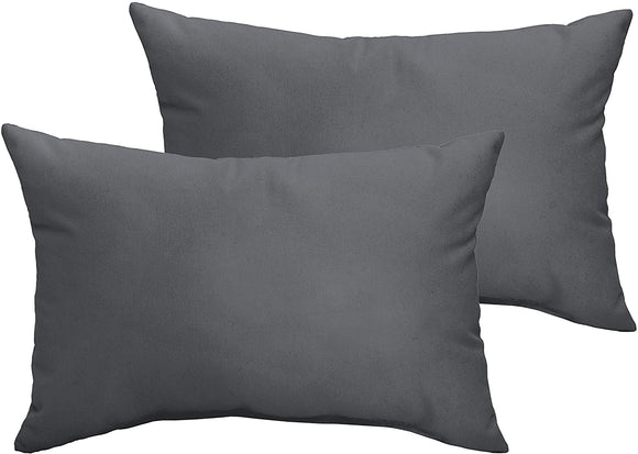 Charcoal Grey 13 X 20 inch Indoor/Outdoor Knife Edge Pillow Set Solid Modern Contemporary Traditional Transitional Polyester Fade Resistant Uv Water