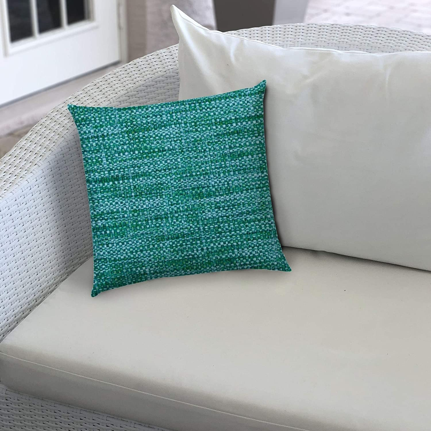 Boho Sea Aqua Indoor/Outdoor Pillows Sewn Closure (Set Two) Color Graphic Modern Contemporary Polyester Water Resistant
