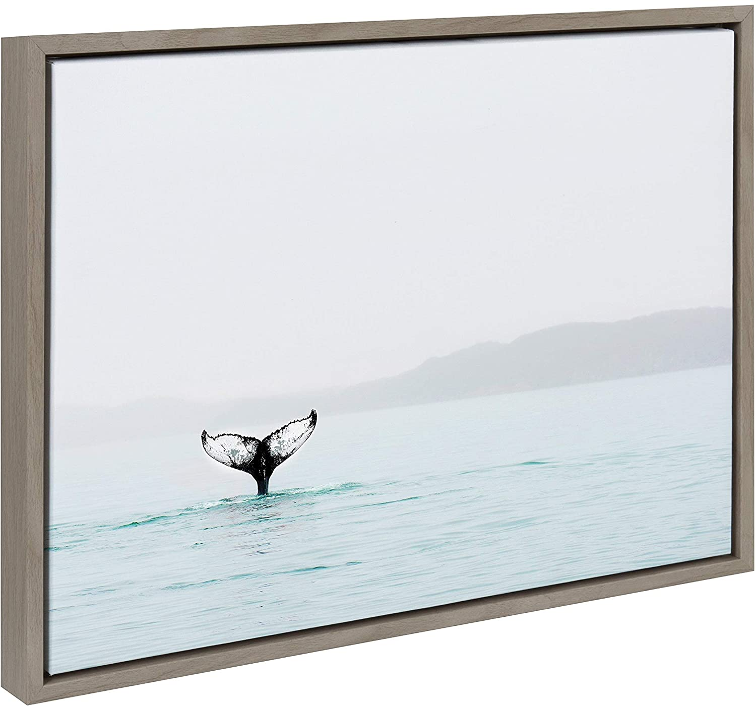 Whale Tail Ocean Framed Canvas Art Gray 18 X 24 Modern Contemporary Rectangle
