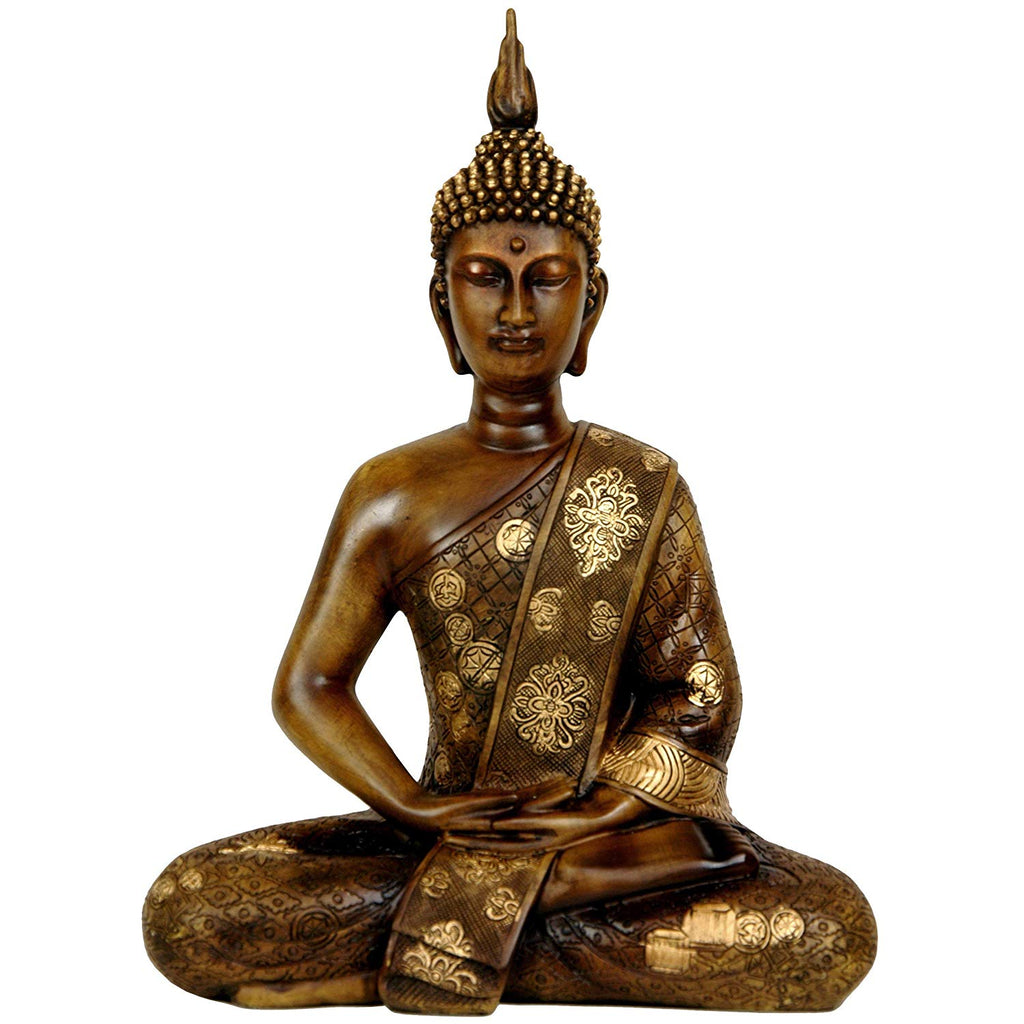 Traditional Thai Buddha Oriental Statue Brown Gold Finish Sitting Buddhist Sculpture Inspires Zen Relaxation Peace Home Decor Indoor Use 11 5in