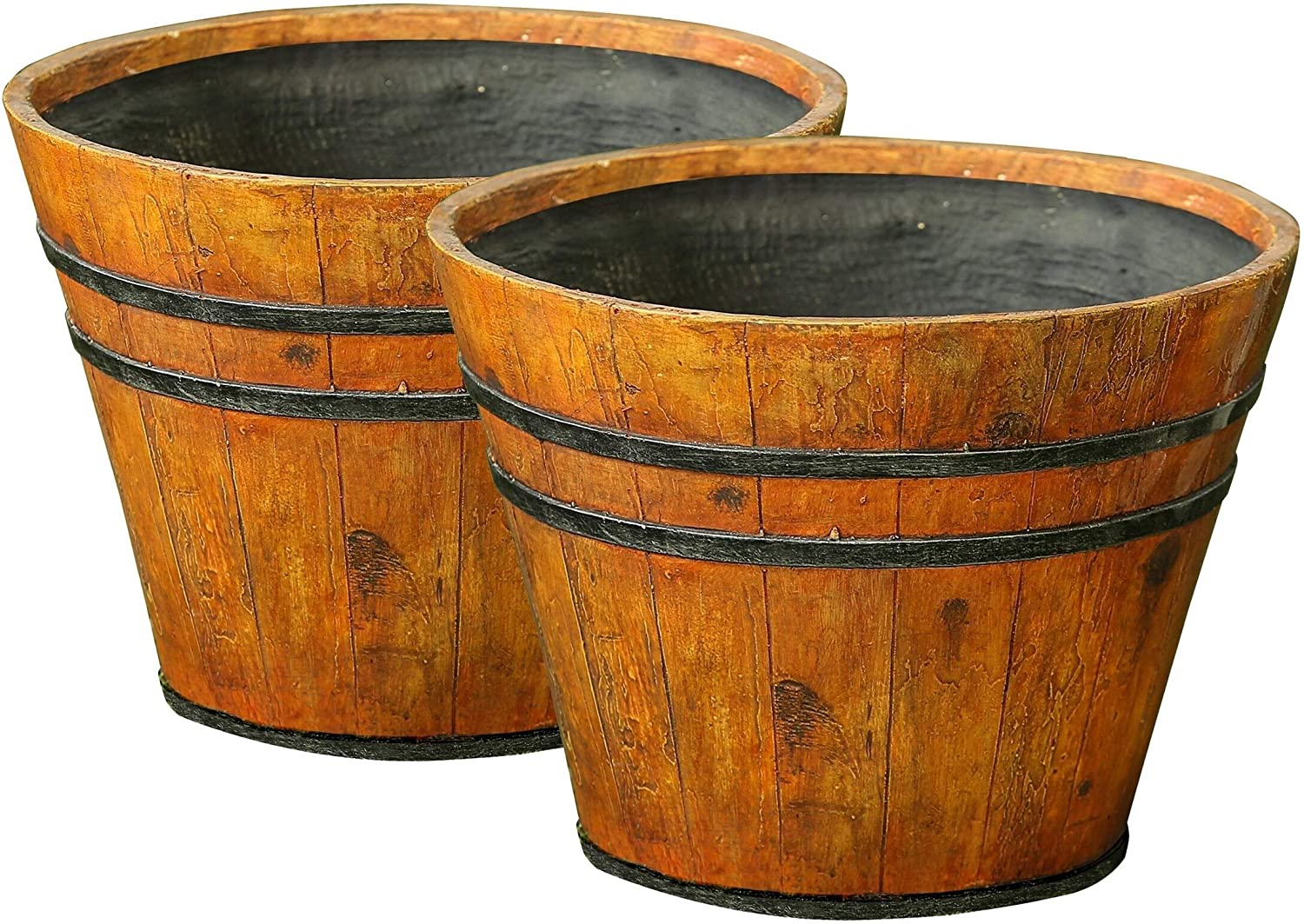 Set 2 Wood Finish Barrel Planters Brown Rustic Round