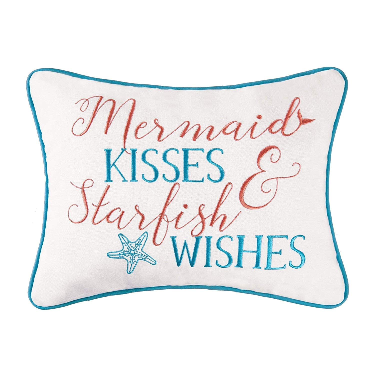 12x16 Mermaid Starfish Throw Pillow Ocean Sea Coastal Cushion Couch Sofa Quotes Sayings Decorative Pillow Kids Girls Bedroom Nautical Rectangle