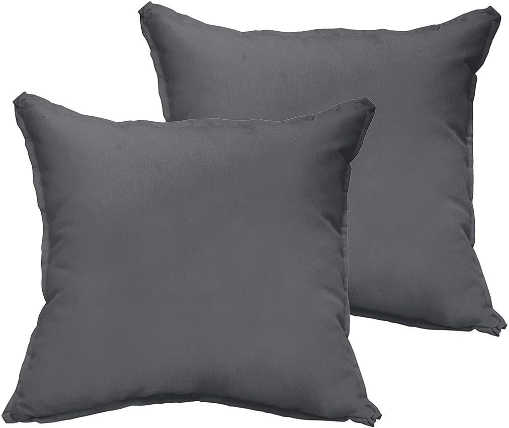 Charcoal Grey 20 X 20 inch Indoor/Outdoor Flange Edge Pillow Set Solid Modern Contemporary Traditional Transitional Polyester Fade Resistant Uv Water