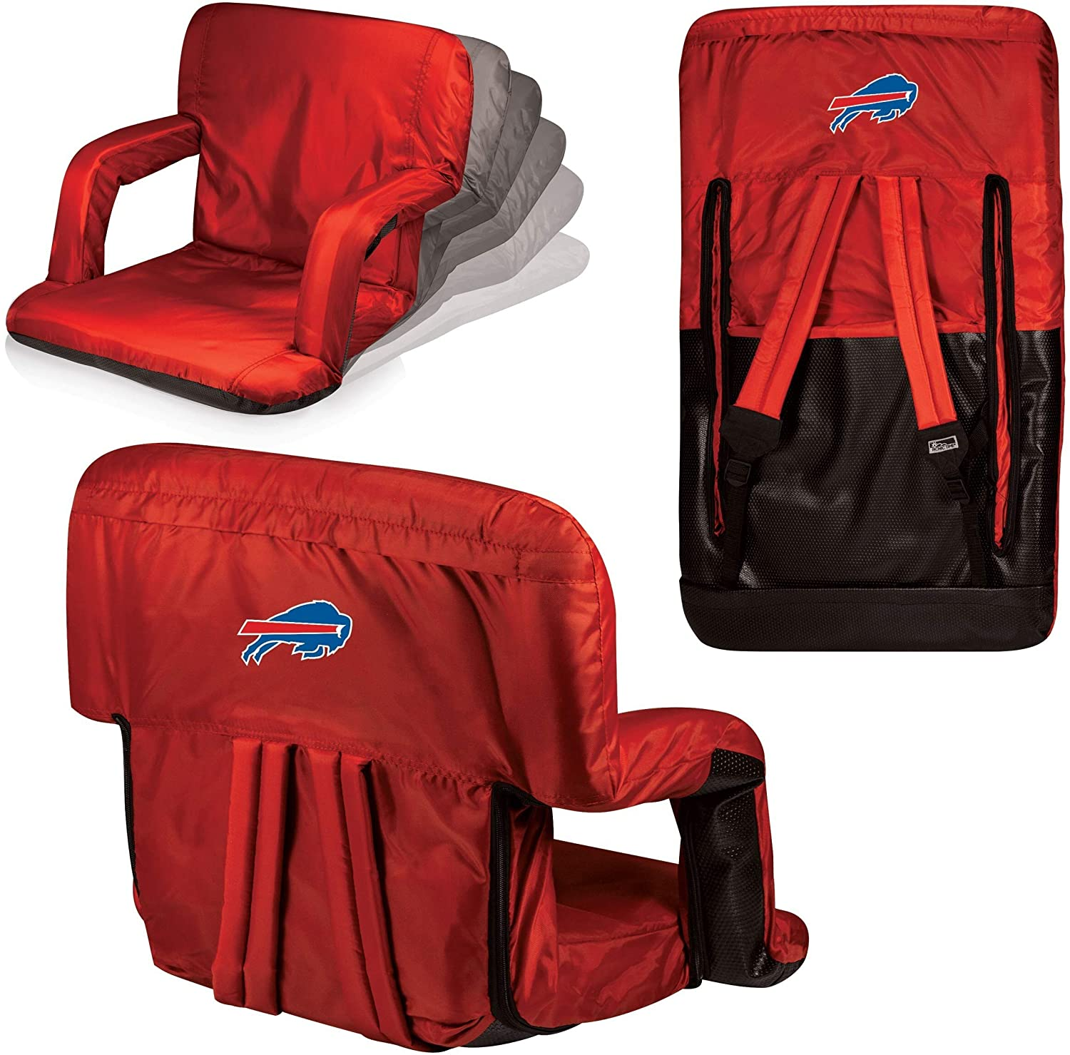 MISC Red NFL Buffalo Bills Ventura Seat Football Themed Armrests Adjustable Backpack Straps Seat Beach Pool Picnics Dorm Living Room Team Merchandise