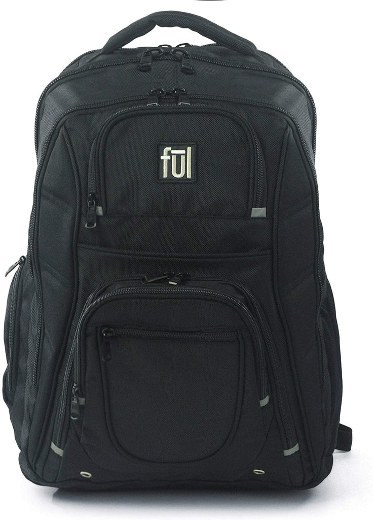 "19"" Laptop Backpack Black Solid Polyester Checkpoint Friendly Compartment Compartment Adjustable Strap Lined"