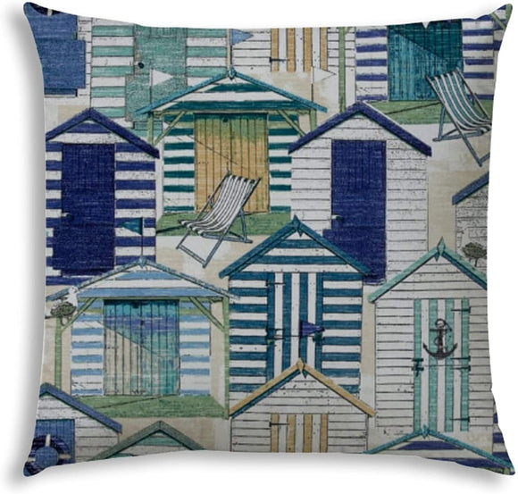 Beach Village Blue Indoor/Outdoor Pillow Sewn Closure Color Graphic Modern Contemporary Polyester Water Resistant