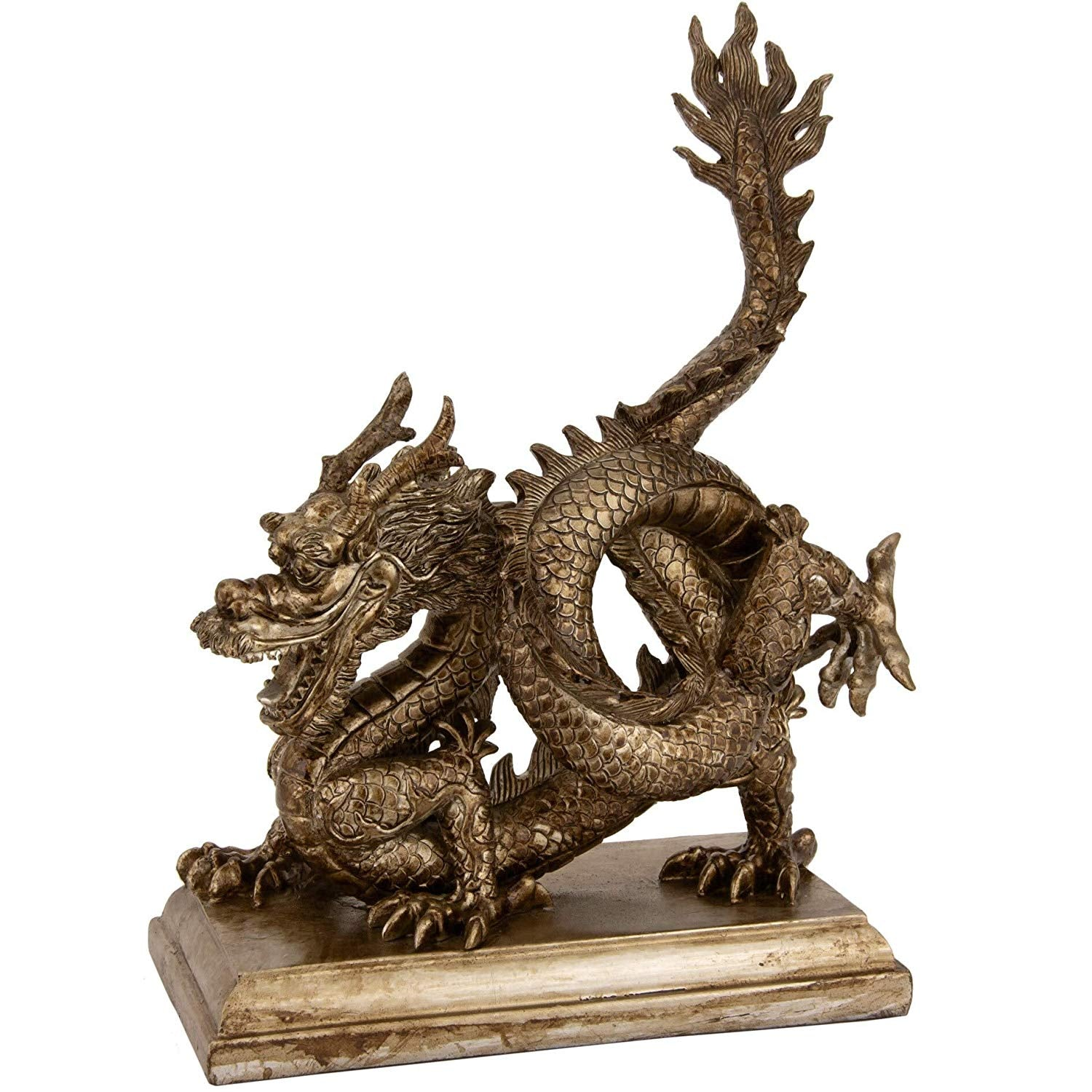 Breathing Chinese Dragon Statue Orient Figurine Asian Oriental Sculpture Wisdom Mythical China Art Metallic Resin 11 Inch H