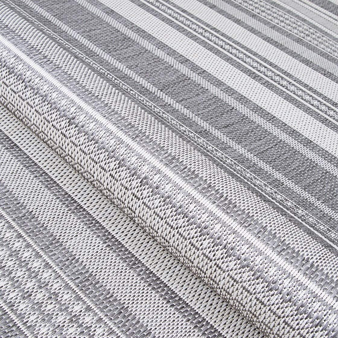 "Stripe Champagne Grey Indoor/Outdoor Area Rug 5'10"" X 9'2"" Grey Ivory Casual Transitional Rectangle Polypropylene Synthetic Contains Latex"