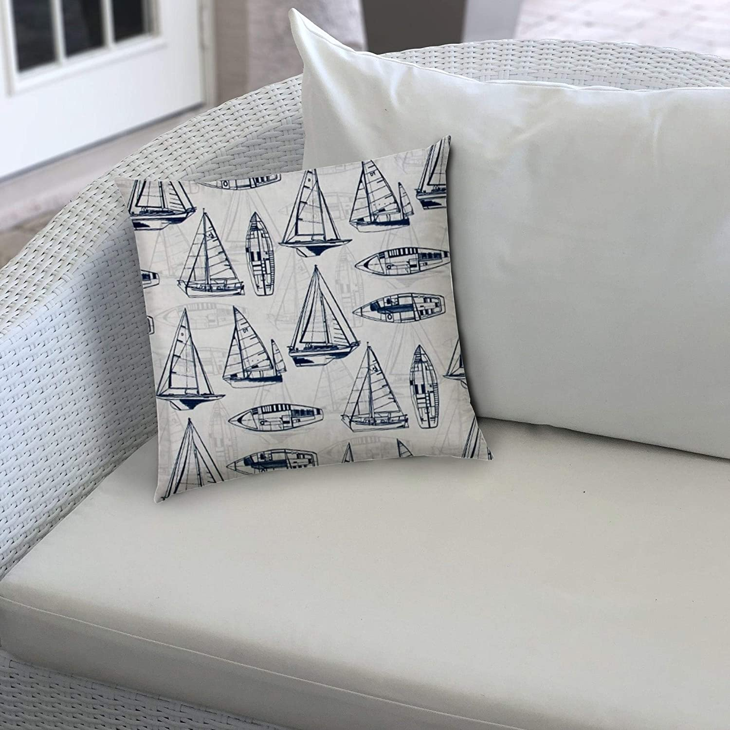 Navy Indoor/Outdoor Pillow Sewn Closure Color Tropical Modern Contemporary Polyester Water Resistant