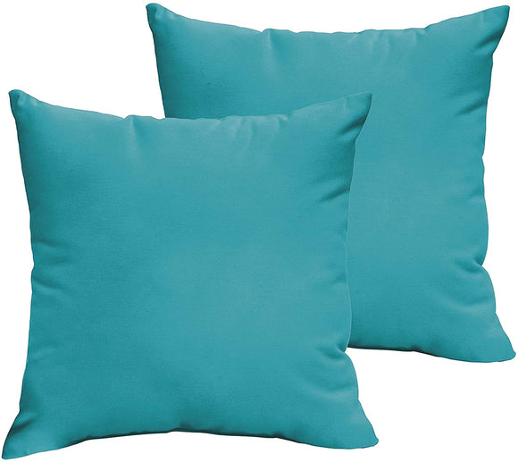 Aqua Blue 20 X 20 inch Indoor/Outdoor Knife Edge Pillow Set Solid Modern Contemporary Traditional Transitional Polyester Fade Resistant Uv Water