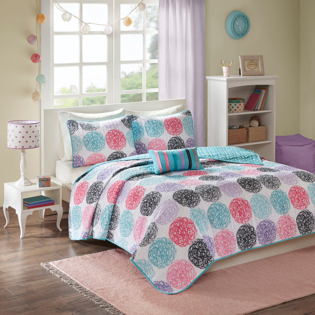 Kids Quilted Coverlet Set Geometric Winery Bedding Medallion Doodled Circles Polka Dot Girls Bedroom