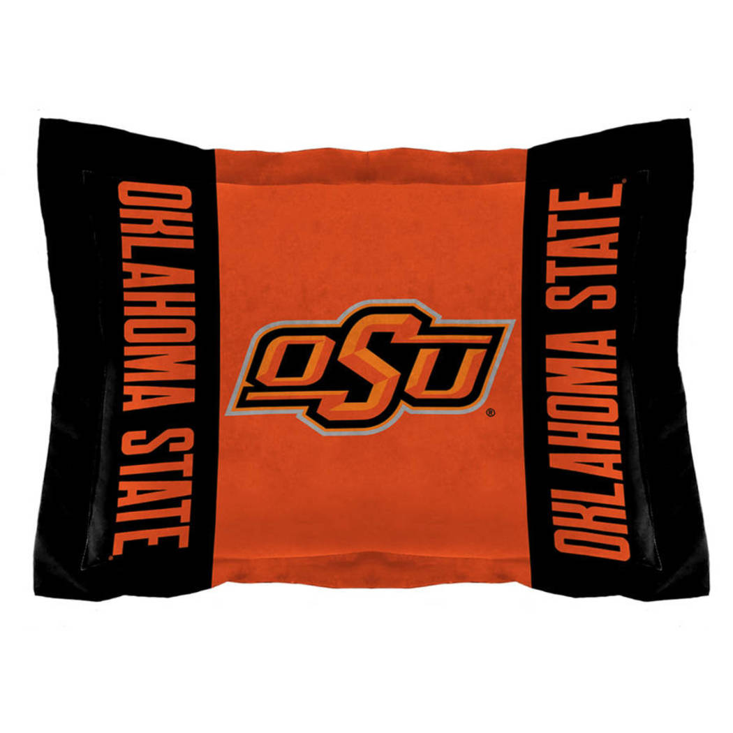 NCAA Oklahoma State University Cowboys Comforter Set Sports Patterned Bedding Team Logo Fan Merchandise Team Spirit College Football Themed Black