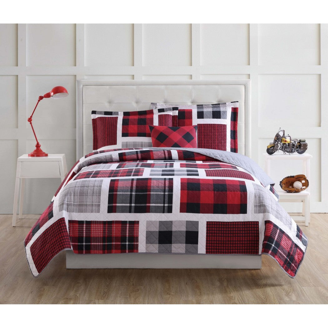 Kids Buffalo Plaid Quilt Set Tartan Winery Bedding Glen Check Geometric Patchwork Square Box Pattern Boys Bedroom