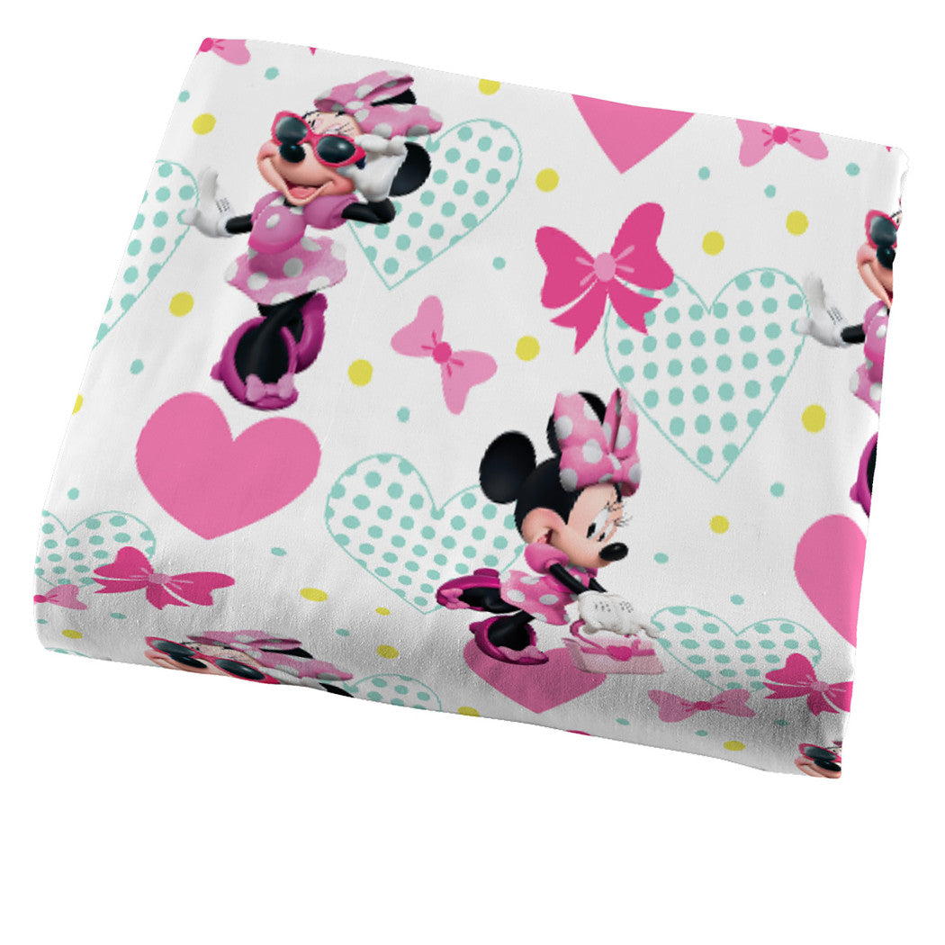 Kids Girls White Pink Minnie Mouse Sheet Set Full Sized Disney Black Girl Mickey Mouse Bedding Mini Polka Dot Bow Hearts Plaid Teal Blue - Diamond Home USA