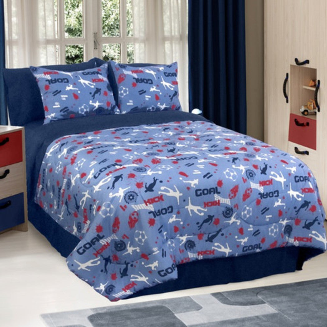 Kids Soccer Themed Comforter Set European Football Bedding Sports Themed Athletic Pattern Goal Kick Text Soccerballs Polyester