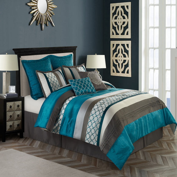 Peacock Jacquard Weave Comforter Set Pintuck Puckered Bedding Geometric Bed Bag Master Bedroom Casual