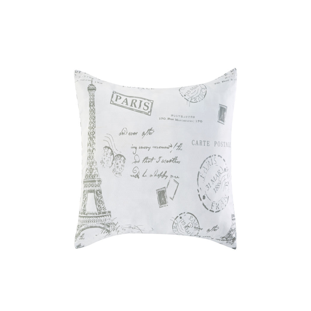 Parisian Themed Duvet Cover Set Eiffel Tower Bedding Paris Postal Stamps Vintage France Inspired Bonjour French Writing