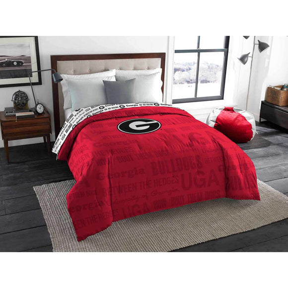 NCAA University Georgia Bulldogs Comforter Twin/Full Sports Patterned Bedding Team Logo Fan Merchandise Team Spirit College Foot Ball Themed Red